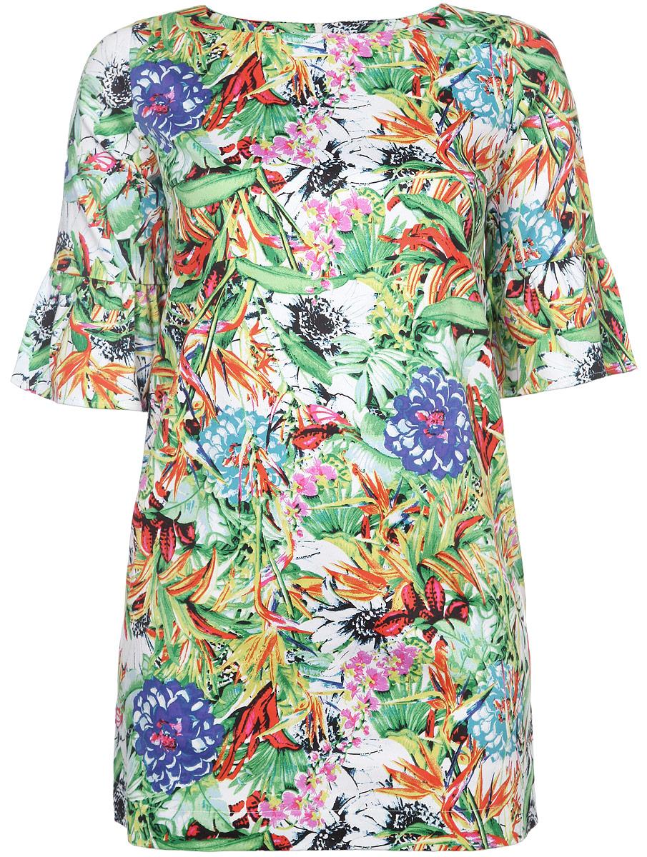 Платье. R015R015Яркое платье Milana Style, выполненное из натурального хлопка, станет стильным дополнением к вашему гардеробу. Ткань изделия плотная, приятная на ощупь, не сковывает движений и хорошо пропускает воздух. Модель с круглым вырезом горловины и рукавами 3/4 застегивается по спинке на пластиковую молнию. Рукава украшены воланами. Оформлено изделие цветочным принтом. Такое платье поможет создать женственный и привлекательный образ, в нем вы будете чувствовать себя уверенно и комфортно.