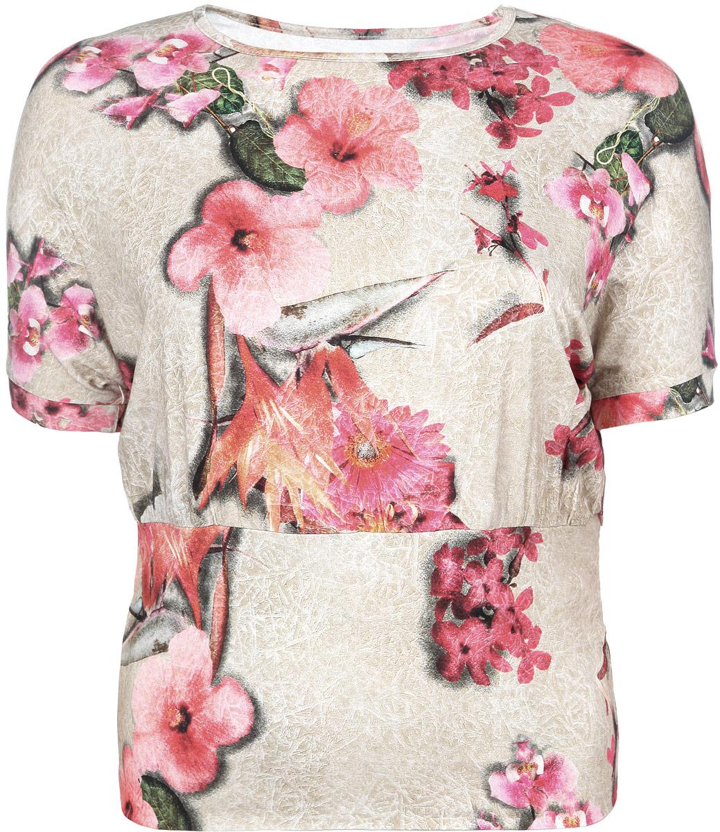 Блузка женская. 884м884мСтильная женская блузка Milana Style, выполненная из мягкой вискозы с добавлением лайкры, подчеркнет ваш уникальный стиль и поможет создать женственный образ. Модель с короткими рукавами и круглым вырезом горловины оформлена оригинальным принтом. Такая блузка будет дарить вам комфорт в течение всего дня и послужит замечательным дополнением к вашему гардеробу.