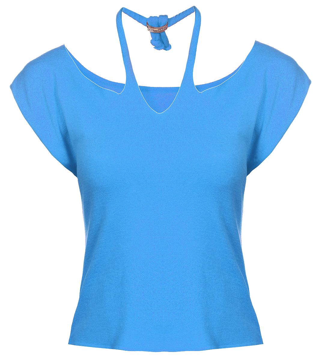 Футболка женская. 11421142Женская футболка Milana Style, изготовленная из ПАН-волокна с добавлением хлопка и вискозы, подчеркнет ваш уникальный стиль. Материал очень мягкий, эластичный, имеет приятную на ощупь текстуру, не сковывает движения и хорошо вентилируется. Укороченная футболка с короткими рукавами имеет фигурный вырез горловины, дополненный лямкой с декоративным элементом, которая фиксируется сзади. Декоративный элемент украшен стразами. Такая футболка займет достойное место в вашем гардеробе и подарит вам комфорт в течение всего дня.
