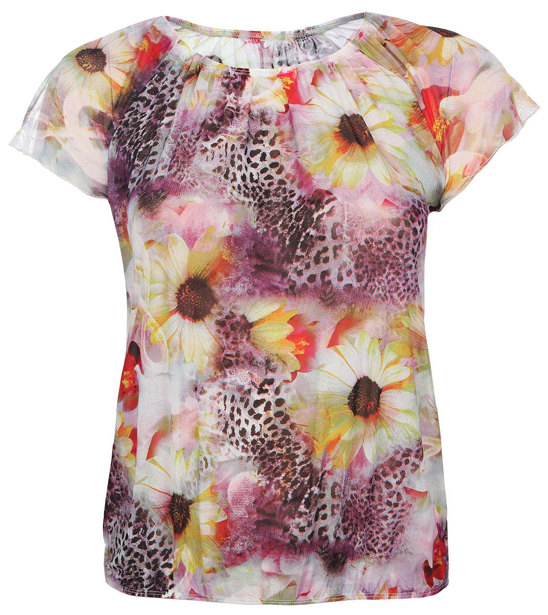 Блузка женская. 754м754мБлузка Milana Style, выполненная из полупрозрачной эластичной ткани, прекрасно дополнит ваш образ. Материал изделия легкий, мягкий и приятный на ощупь, не сковывает движения и хорошо вентилируется, обеспечивая комфорт. Блузка с круглым вырезом горловины и короткими рукавами-реглан оформлена оригинальным принтом. Вырез горловины и низ изделия собраны на эластичные резинки, образующие мелкие складки. Такая блузка займет достойное место в вашем гардеробе!