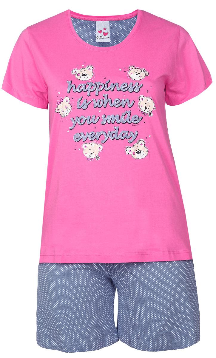 71402070 4007Комплект домашней женской одежды Vienetta Secret, состоящий из шорт и футболки, станет отличным дополнением к вашему гардеробу. Выполненный из высококачественного хлопка, комплект мягкий и приятный на ощупь, не сковывает движения и позволяет коже дышать, обеспечивая наибольший комфорт. Стильная футболка свободного кроя дополнена короткими рукавами и круглым вырезом. Изделие оформлено принтом с изображением медвежат и надписей на английском языке. Шорты свободного кроя на поясе дополнены эластичной вставкой с завязками и оформлены принтом горох. Стильный комплект одежды подарит вам удобство и комфорт, подчеркнет вашу индивидуальность.