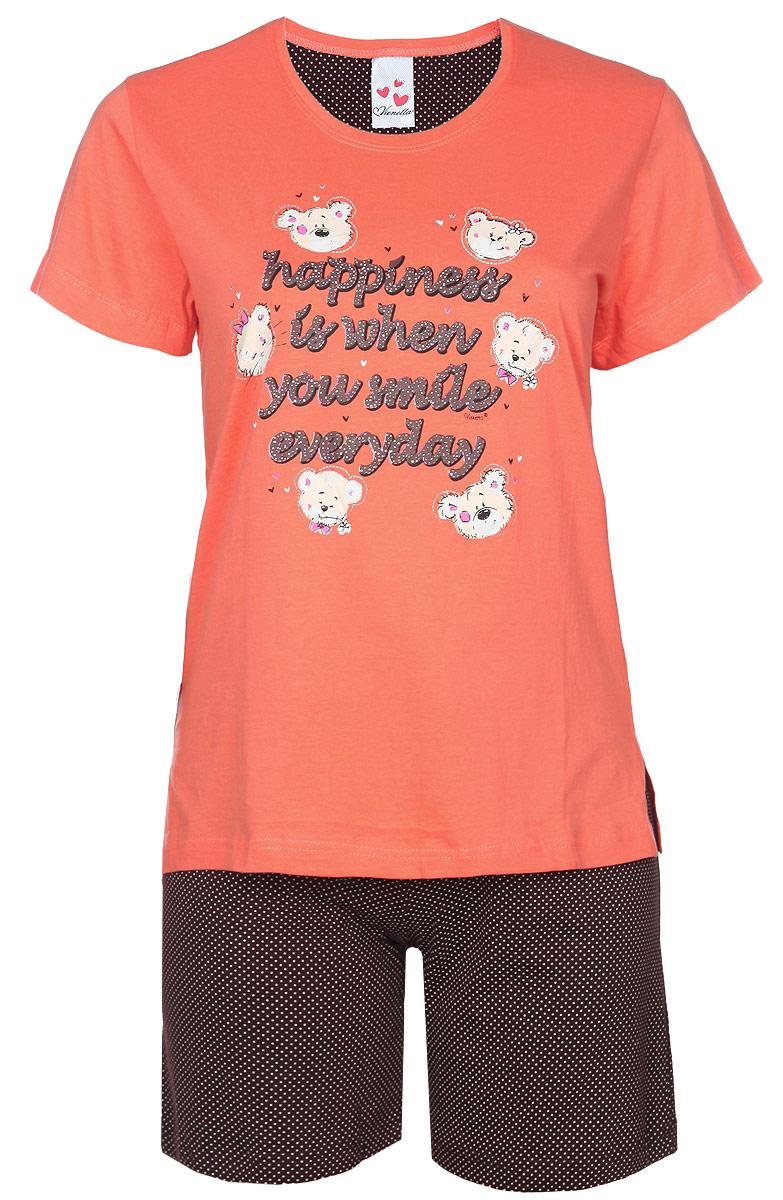 Комплект женский. 71402070 400771402070 4007Комплект домашней женской одежды Vienetta Secret, состоящий из шорт и футболки, станет отличным дополнением к вашему гардеробу. Выполненный из высококачественного хлопка, комплект мягкий и приятный на ощупь, не сковывает движения и позволяет коже дышать, обеспечивая наибольший комфорт. Стильная футболка свободного кроя дополнена короткими рукавами и круглым вырезом. Изделие оформлено принтом с изображением медвежат и надписей на английском языке. Шорты свободного кроя на поясе дополнены эластичной вставкой с завязками и оформлены принтом горох. Стильный комплект одежды подарит вам удобство и комфорт, подчеркнет вашу индивидуальность.