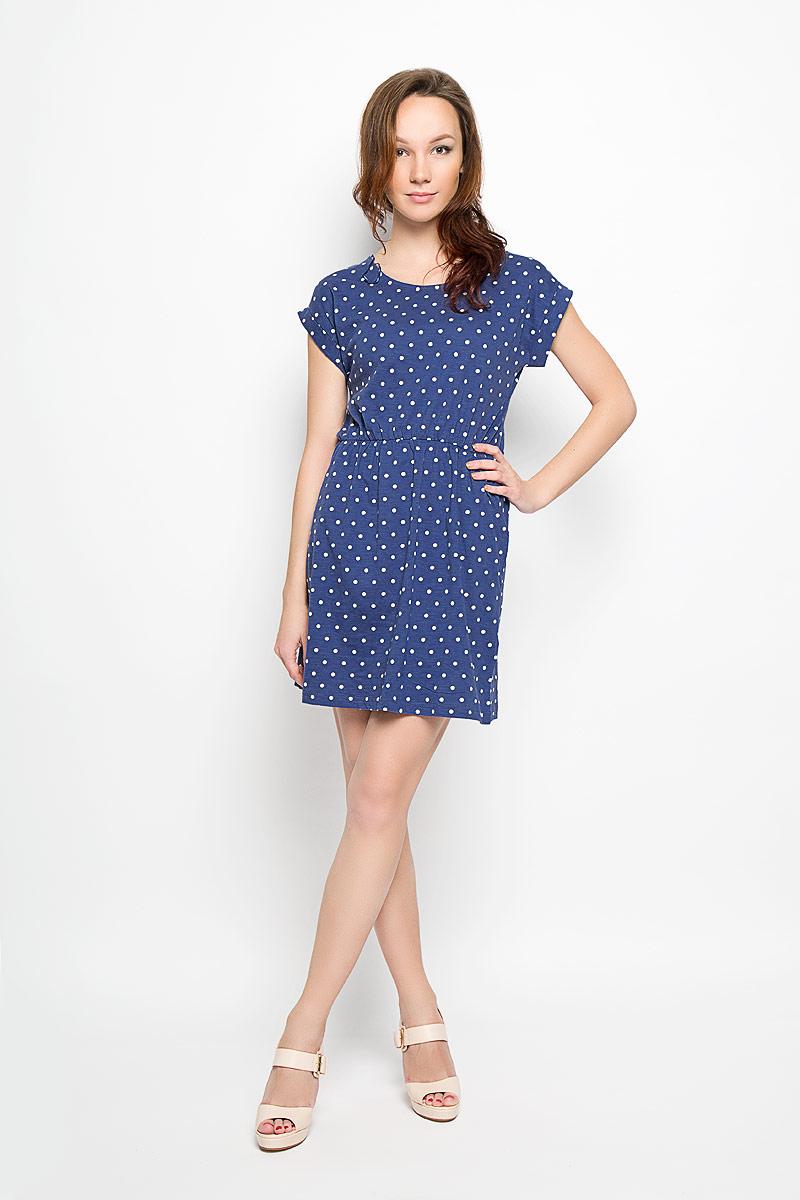 L-SU-2007_BLACKСтильное платье Moodo выполнено из натурального хлопка и оформлено принтом в горох. Платье с круглым вырезом горловины и короткими рукавами-кимоно придется вам по душе. Рукава дополнены декоративными отворотами. На талии предусмотрена эластичная резинка. Спереди расположены два втачных кармана. Такое платье станет стильным дополнением к вашему гардеробу, оно подарит вам комфорт в течение всего дня!