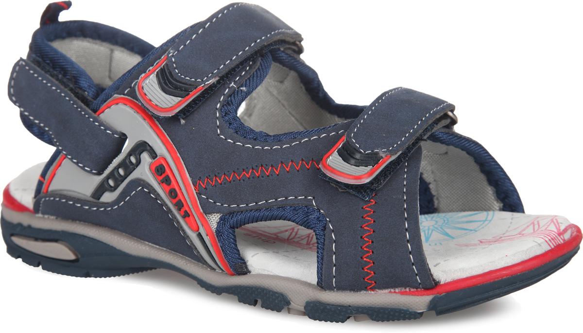 Сандалии для мальчика. 12-20212-202Оригинальные сандалии от Аллигаша со съемным задним ремешком придутся по душе вашему мальчику. Модель выполнена из искусственной кожи и оформлена по верху светлой прострочкой, по канту - текстильной нашивкой, по бокам - резными отверстиями для лучшей воздухопроницаемости и зигзагообразной контрастной прострочкой, на заднем ремешке - ярлычком для более удобного надевания обуви. Одна из боковых сторон и ремешки на подъеме дополнены нашивками из ПВХ. Текстильная подкладка предотвратит натирание. Стелька из натуральной кожи дополнена супинатором, который обеспечивает правильное положение ноги ребенка при ходьбе. Ремешки на застежке-липучке надежно фиксируют обувь на ножке ребенка и регулируют объем. Подошва оснащена рифлением для лучшего сцепления с поверхностями. Стильные сандалии - незаменимая вещь в гардеробе каждого ребенка!