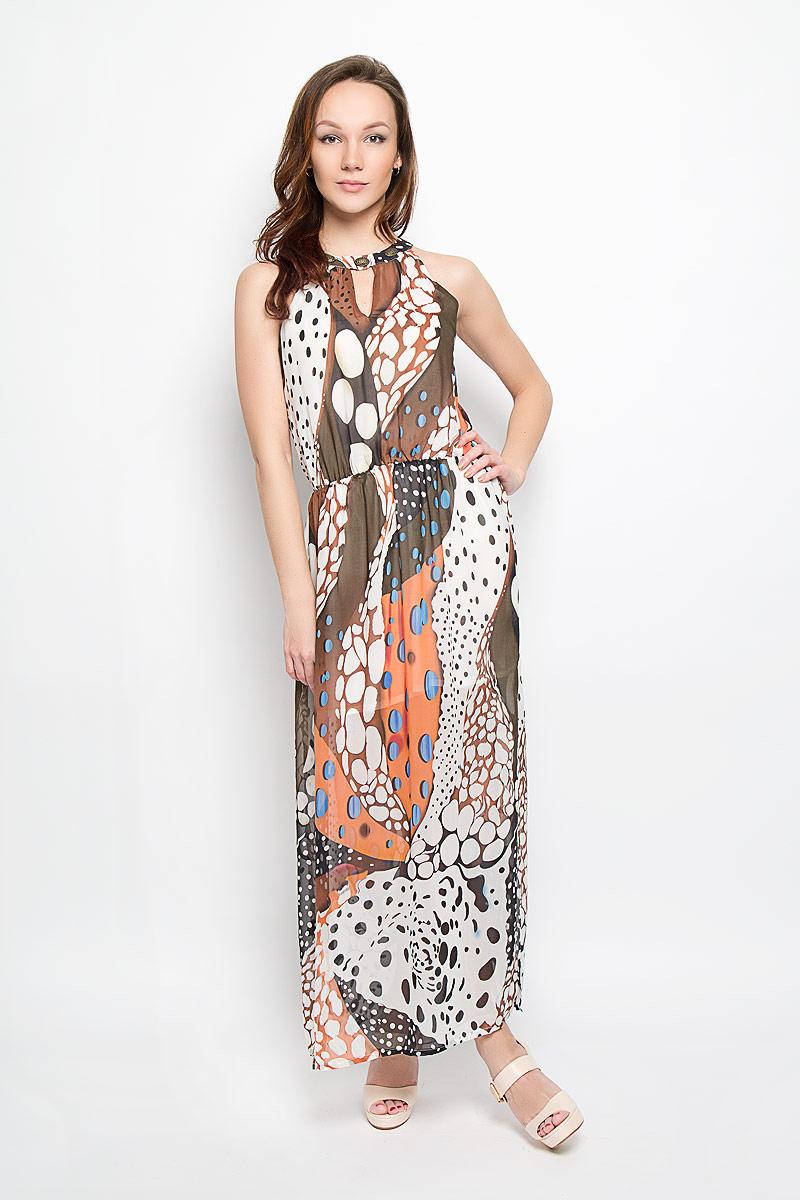 ПлатьеB466014_Terracota-Milk PrintedПлатье Baon станет стильным дополнением к вашему летнему гардеробу. Выполненное из тонкой полупрозрачной ткани, оно очень легкое и воздушное, тактильно приятное, не сковывает движений, хорошо вентилируется. Подкладка платья выполнена из полиэстера. Модель с круглым вырезом горловины застегивается по спинке на две пуговицы. Линия талии выгодно подчеркнута вшитой эластичной резинкой. Сбоку предусмотрен эффектный разрез. Изделие оформлено ярким принтом, украшено по вырезу горловины декоративными элементами. Такое платье непременно украсит ваш гардероб и добавит образу женственности!