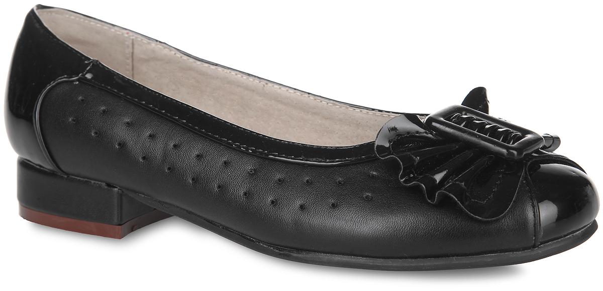 13-344Классические туфли от Аллигаша - незаменимая вещь в гардеробе каждой девочки. Модель выполнена из искусственной кожи разной фактуры и оформлена по бокам перфорацией, на мысе - роскошным бантиком и декоративным элементом прямоугольной формы. Кожаная подкладка гарантирует уют и предотвратит натирание. Стелька из ЭВА с верхней поверхностью из натуральной кожи дополнена супинатором, обеспечивающим правильное положение ноги ребенка при ходьбе и предотвращающим плоскостопие. Невысокий широкий каблук и подошва оснащены рифлением для лучшего сцепления с поверхностями. Элегантные туфли внесут изысканные нотки в образ вашей маленькой модницы.