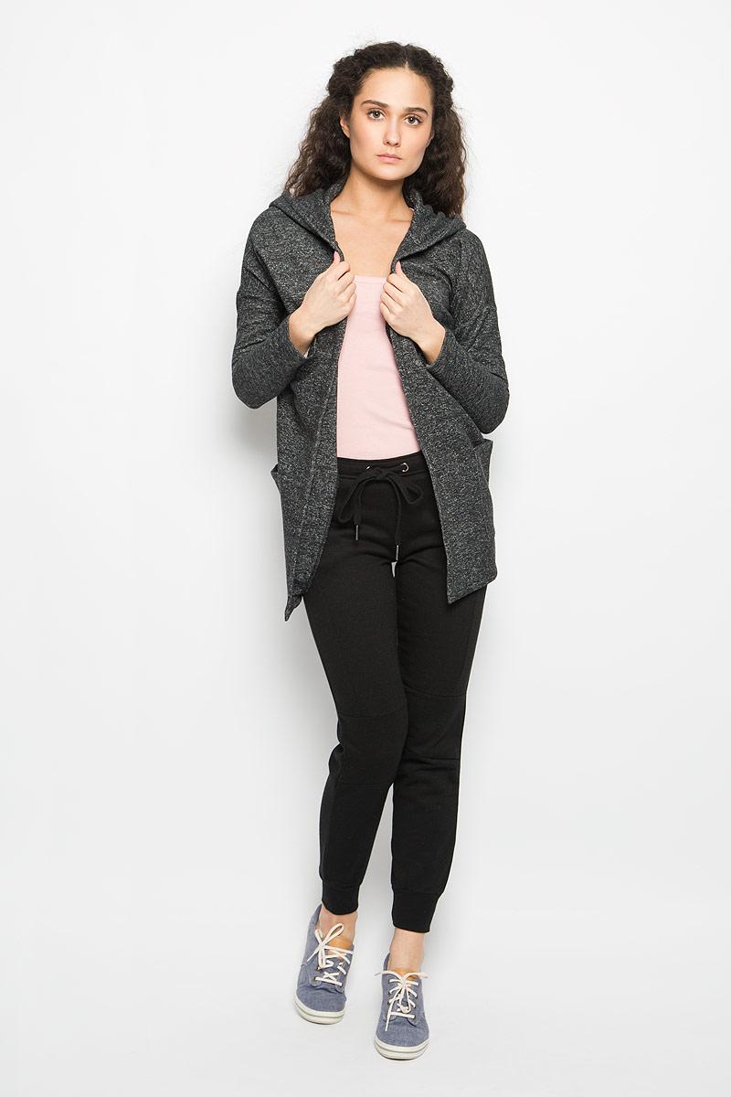 L-BL-2010_BLACK_MELСтильный женский кардиган Moodo выполнен из хлопка и полиэстера. Модель свободного кроя с длинными рукавами-кимоно и воротником-шаль дополнена капюшоном. С изнаночной стороны - мягкий ворсистый материал, приятный на ощупь. Кардиган не имеет застежек, благодаря чему красиво и элегантно драпируется. Понизу имеются два накладных кармана. Уютный кардиган - идеальный вариант для создания неотразимого образа. Такая модель будет дарить вам комфорт в течение всего дня и послужит замечательным дополнением к вашему гардеробу.