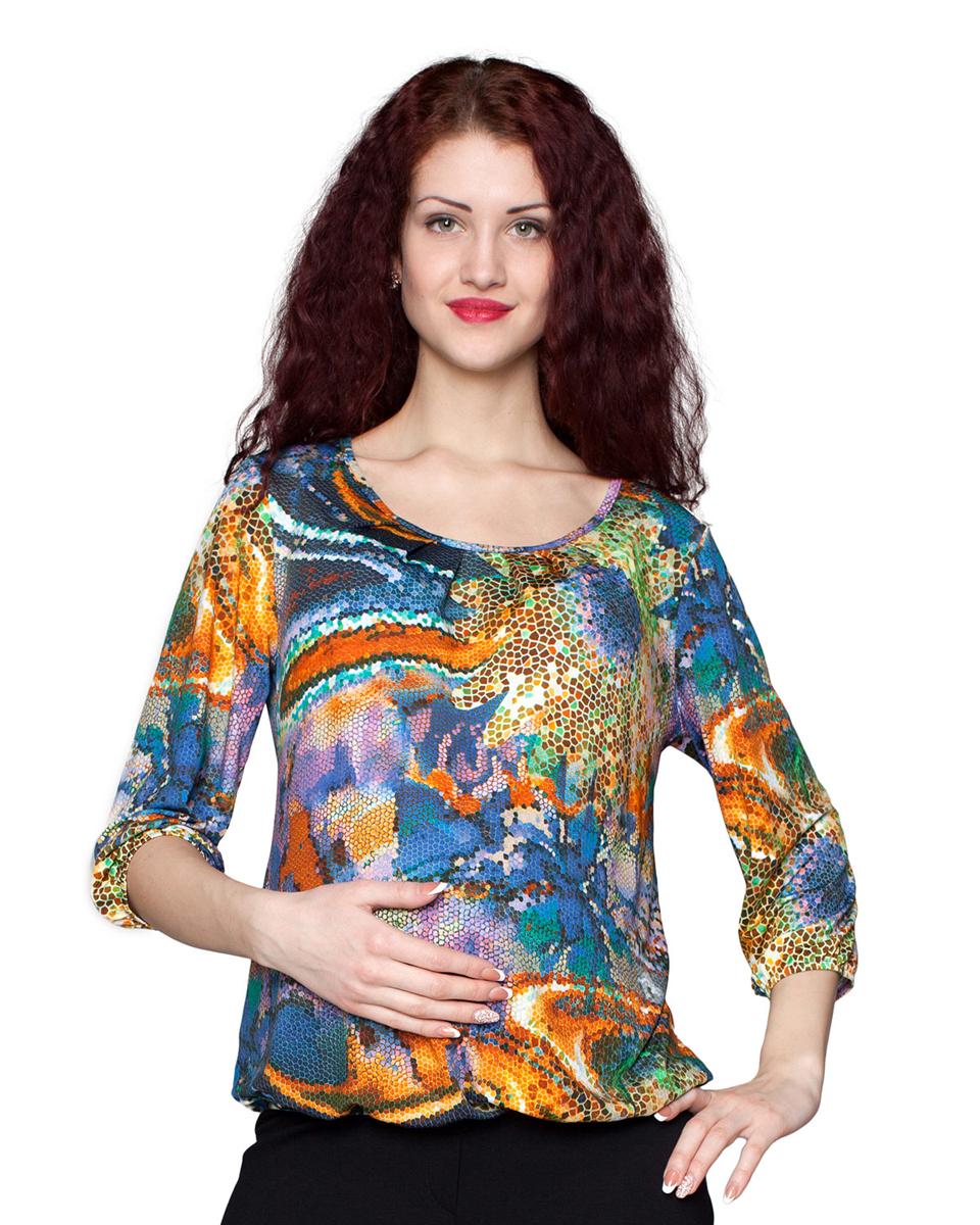 1-113525ВЯркая блузка с округлым вырезом горловины послужит удачным дополнением к юбкам, брюкам и джинсам. Фэст — одежда по вашей фигуре.