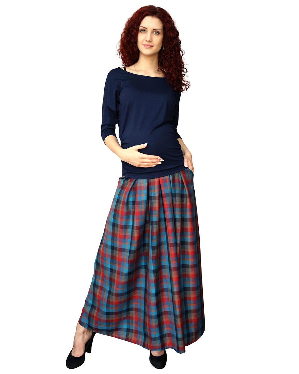 184528Юбка в пол из актуального клетчатого полотна подойдет даже на поздних сроках беременности, благодаря эластичному широкому поясу. Впереди обработаны складки и карманы. Фэст - одежда по вашей фигуре.
