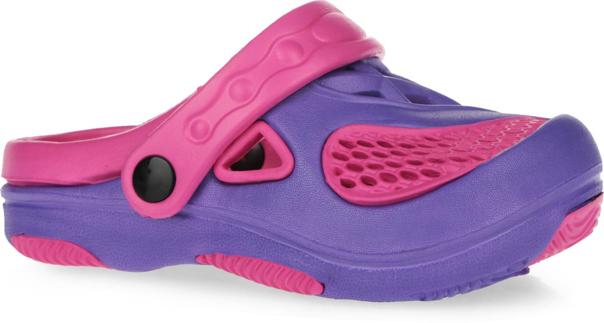 100480Яркие и очень легкие сабо от Mursu, выполненные полностью из ЭВА материала, с отверстиями для лучшей воздухопроницаемости - это превосходный вид обуви для вашей дочурки. Пяточный ремешок можно убирать вперед или носить на пятке. Рифление на верхней поверхности подошвы предотвращает выскальзывание ноги. Рельефное основание подошвы обеспечивает уверенное сцепление с любой поверхностью. Удобные сабо прекрасно подойдут для похода в бассейн или на пляж.
