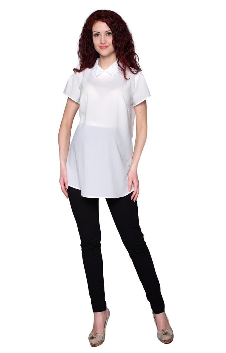 3-143518АБлузка для беременных женщин расклешенного силуэта с кружевным воротничком. Фэст - одежда по вашей фигуре.