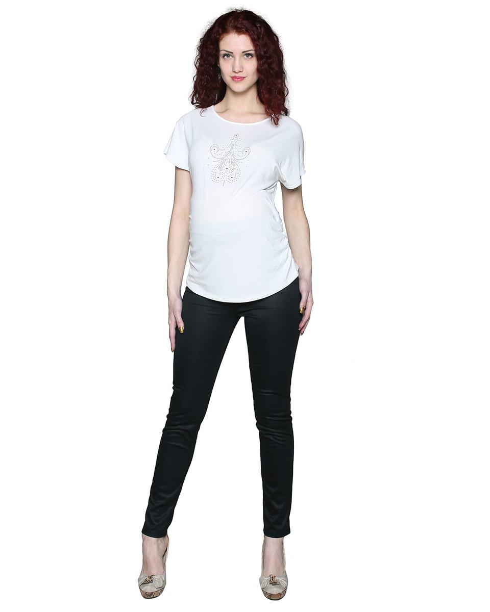 Брюки104507НКлассические брюки из плотного трикотажного полотна. Бандажная вставка на поясе обеспечит поддержку растущего животика. Фэст — одежда по вашей фигуре.
