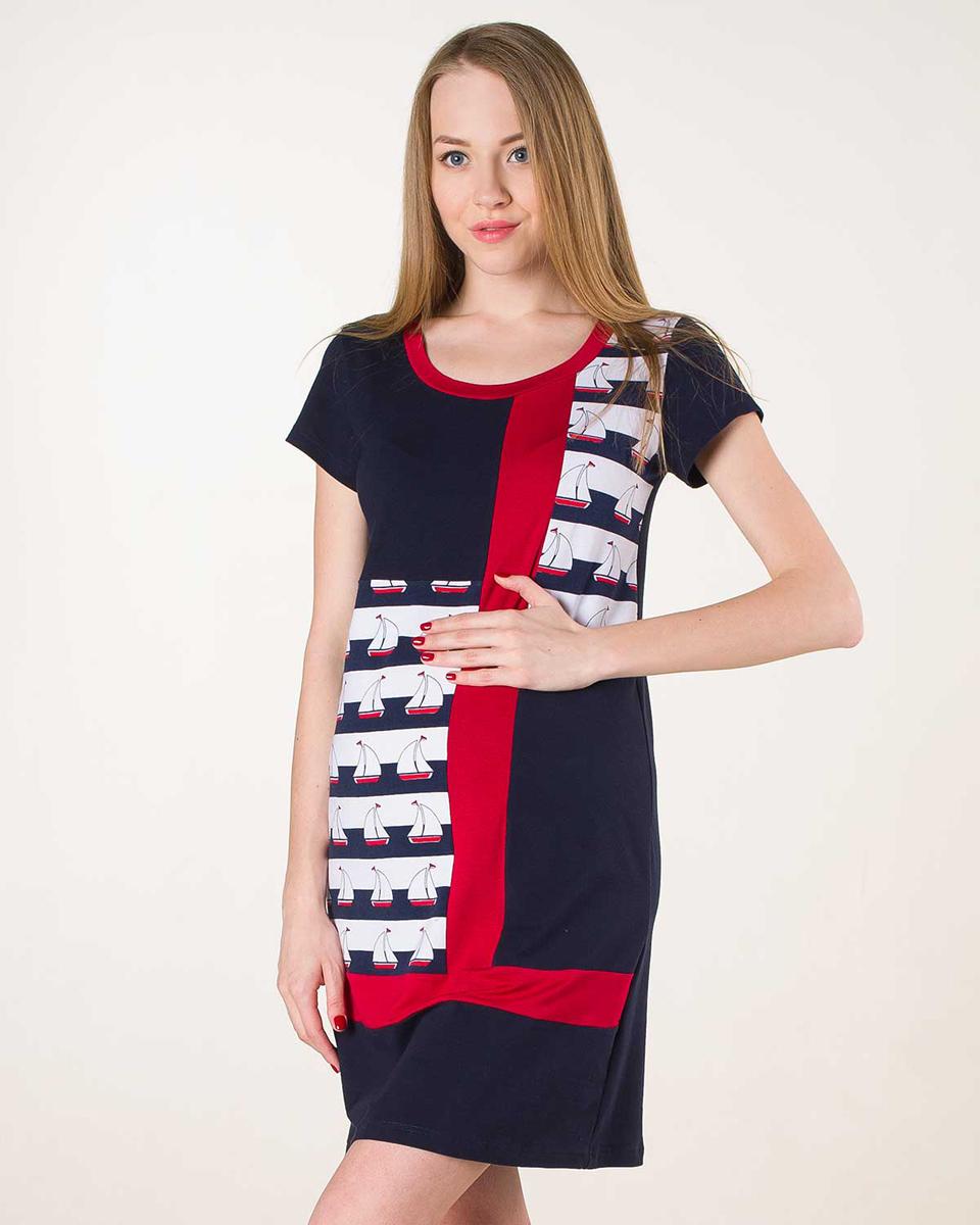 Платье домашнееП66505АДомашнее платье для беременных в актуальном морском стиле. Фэст — одежда по вашей фигуре.