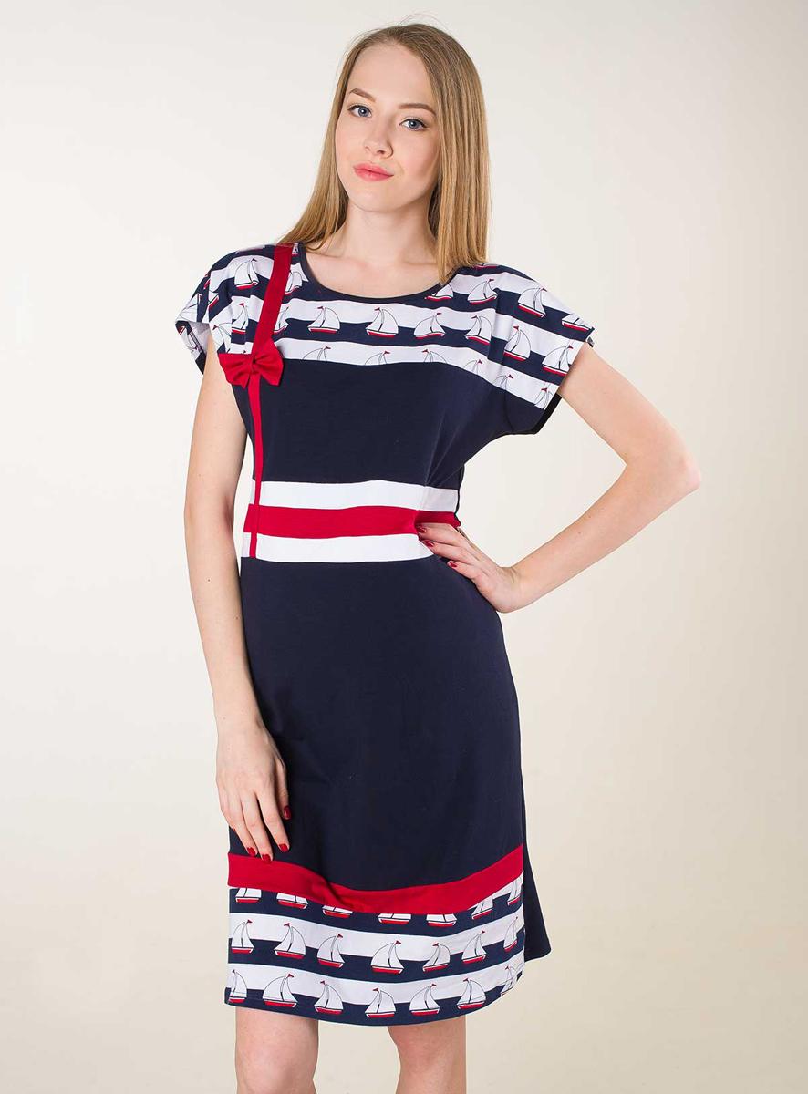Платье домашнееП67505Домашнее платье для беременных в актуальном морском стиле. Фэст — одежда по вашей фигуре.