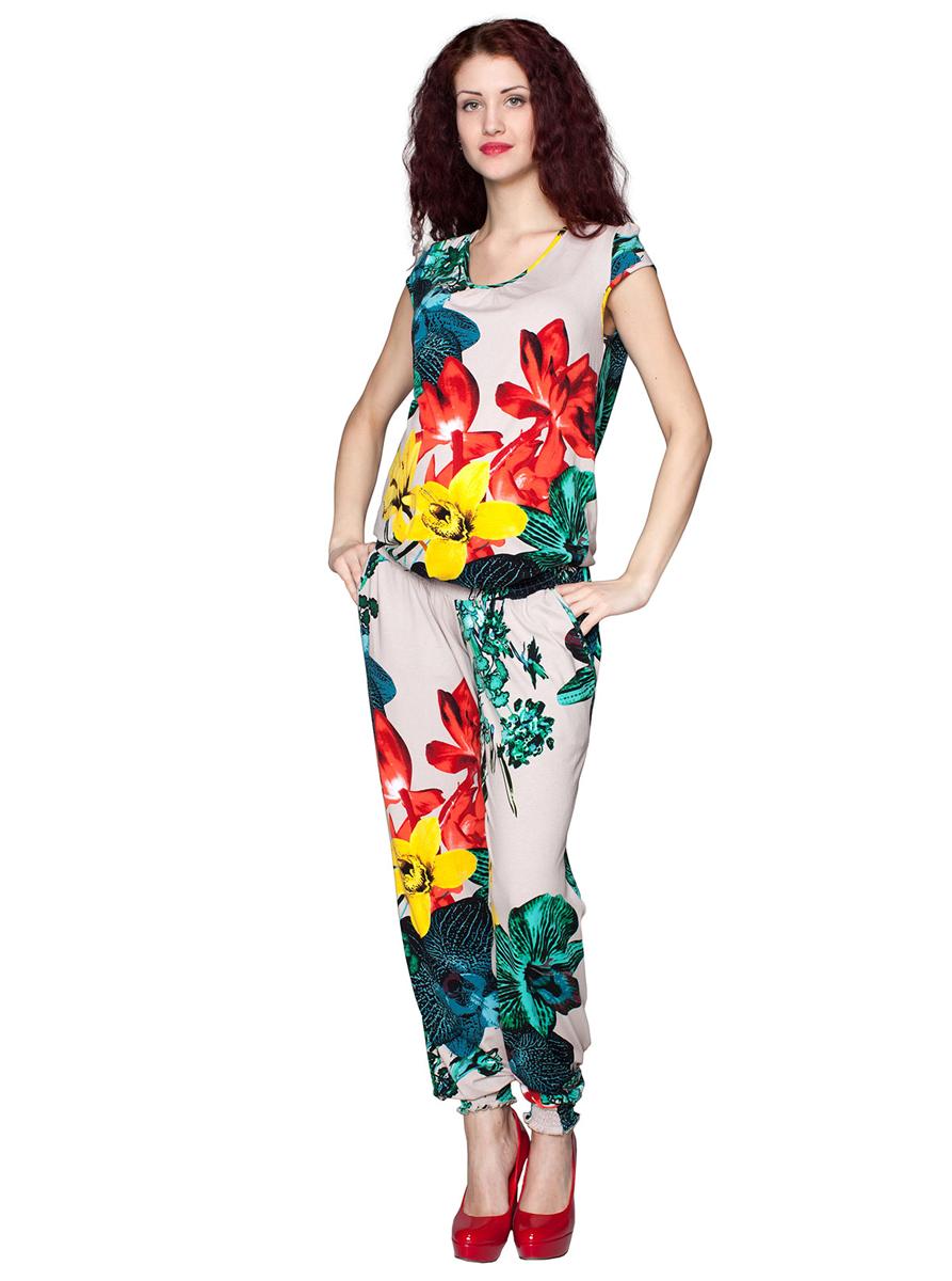3-206509Летний свободный комбинезон для беременных. Модель имеет мягкую эластичную резинку под живот и карманы. Фэст - одежда по вашей фигуре.