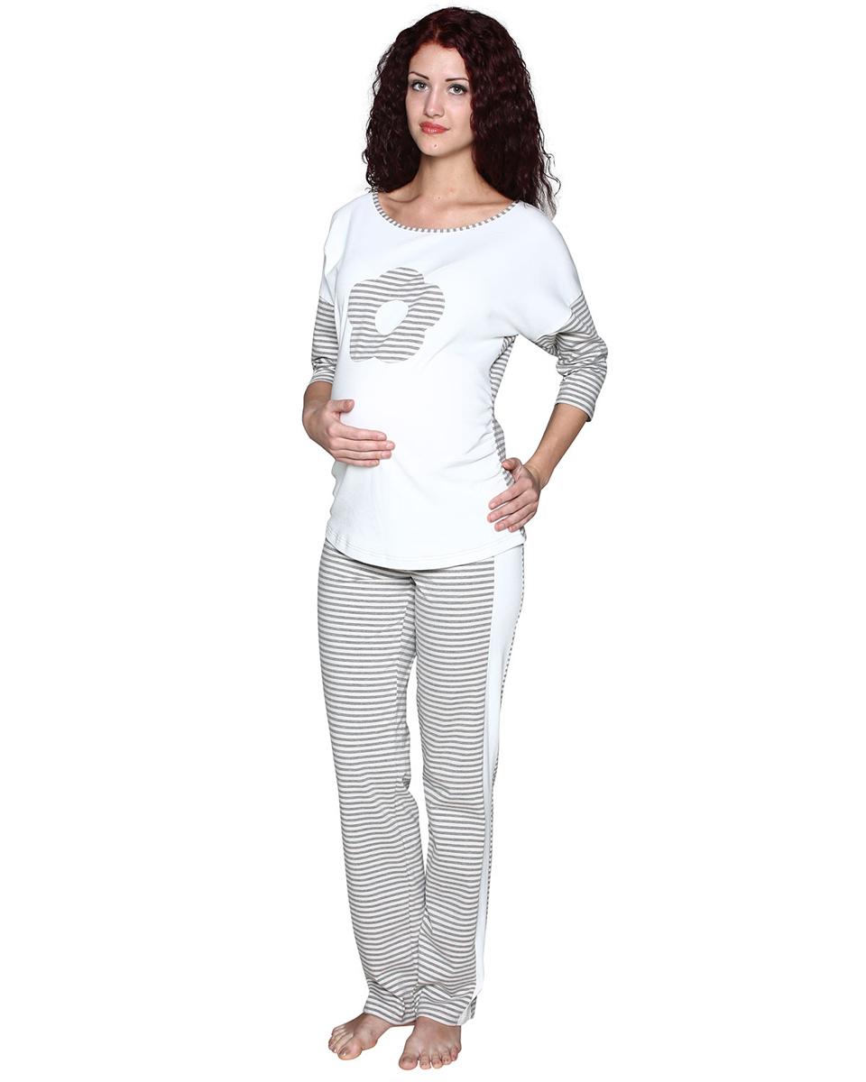 Домашний комплектП77505НККомплект женский для беременных, состоящий из лонгслива и брюк, выполнен из хлопка из комбинации полотен. Лонгслив украшен декоративным элементом в виде цветка. Брюки с лампасами, выполнены с эластичным поясом под живот. Фэст - одежда по вашей фигуре.