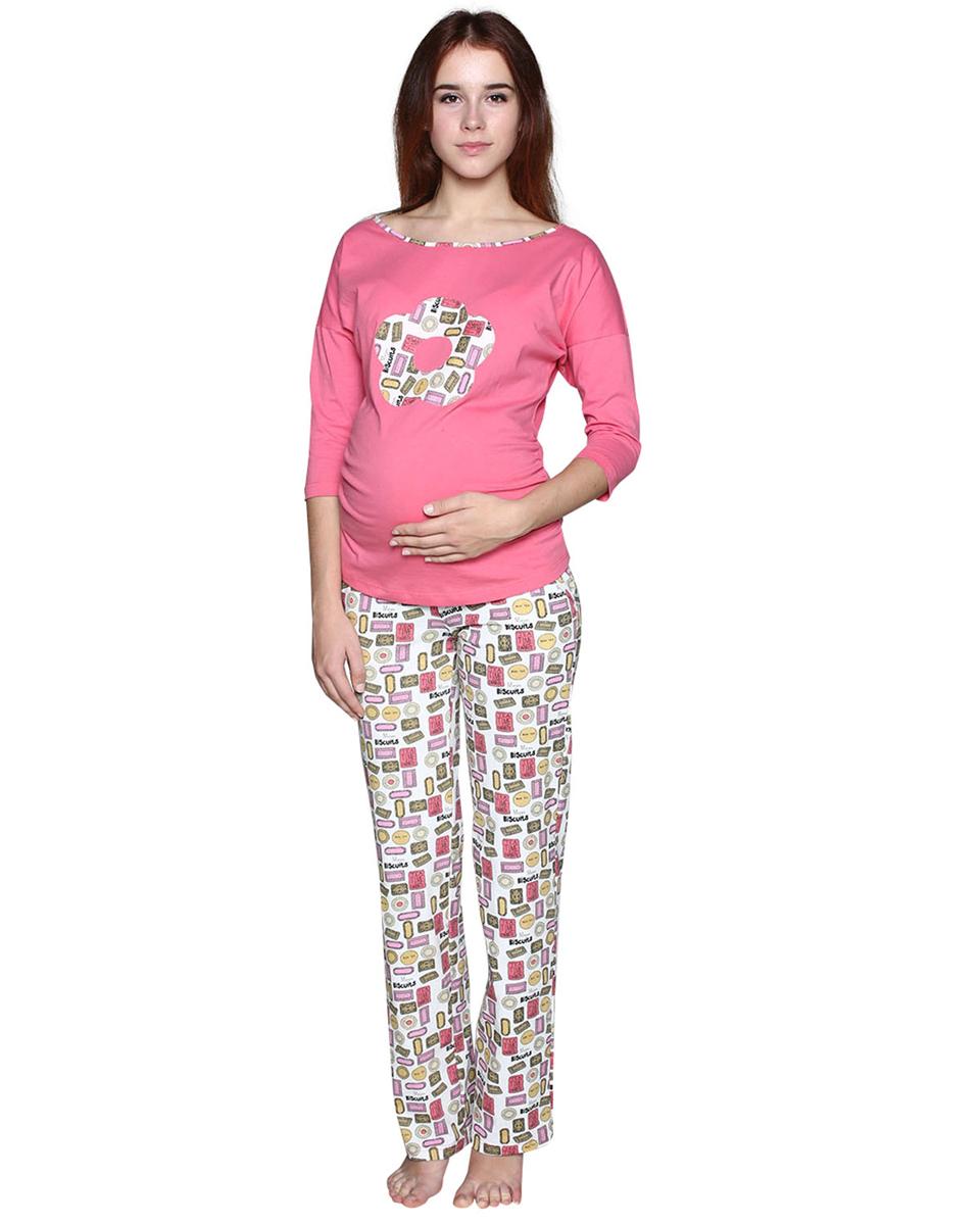 Домашний комплектП77504КЗамечательный комплект, состоящий из однотонного лонгслива с аппликацией и брюк из набивной ткани. Фэст - одежда по вашей фигуре.