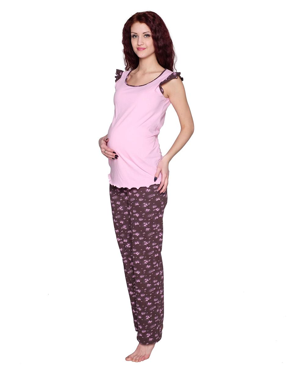 П81504КСимпатичный и удобный комплект для беременных, состоящий из майки и брюк, выполнен из хлопка. Майка имеет интересный рукав-крылышко. Брюки выполнены с эластичным поясом под живот. Фэст - одежда по вашей фигуре.