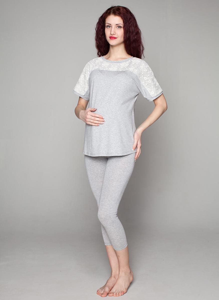 Домашний комплектП78509КУдобный комплект для беременных мамочек состоит из леггинсов и туники с кружевной отделкой. Фэст — одежда по вашей фигуре.
