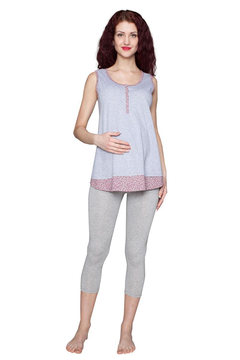 Домашний комплектП86505ККомплект для беременных и кормящих женщин, состоящий из майки и леггинсов, выполнен из мягкого хлопкового полотна с добавлением эластана. Майка имеет удобную застежку-планку. Леггинсы выполнены с эластичным бандажом на живот. Фэст-одежда по вашей фигуре.