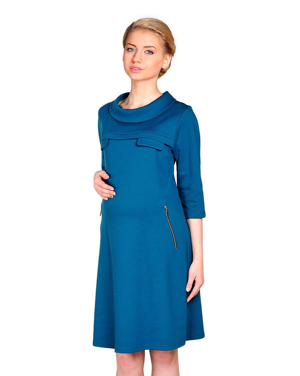 68507ВОднотонное повседневное платье с рукавом три четверти, украшено декоративными молниями. Расклешенный силуэт обеспечит комфорт в период ожидания малыша. Фэст - одежда по вашей фигуре.