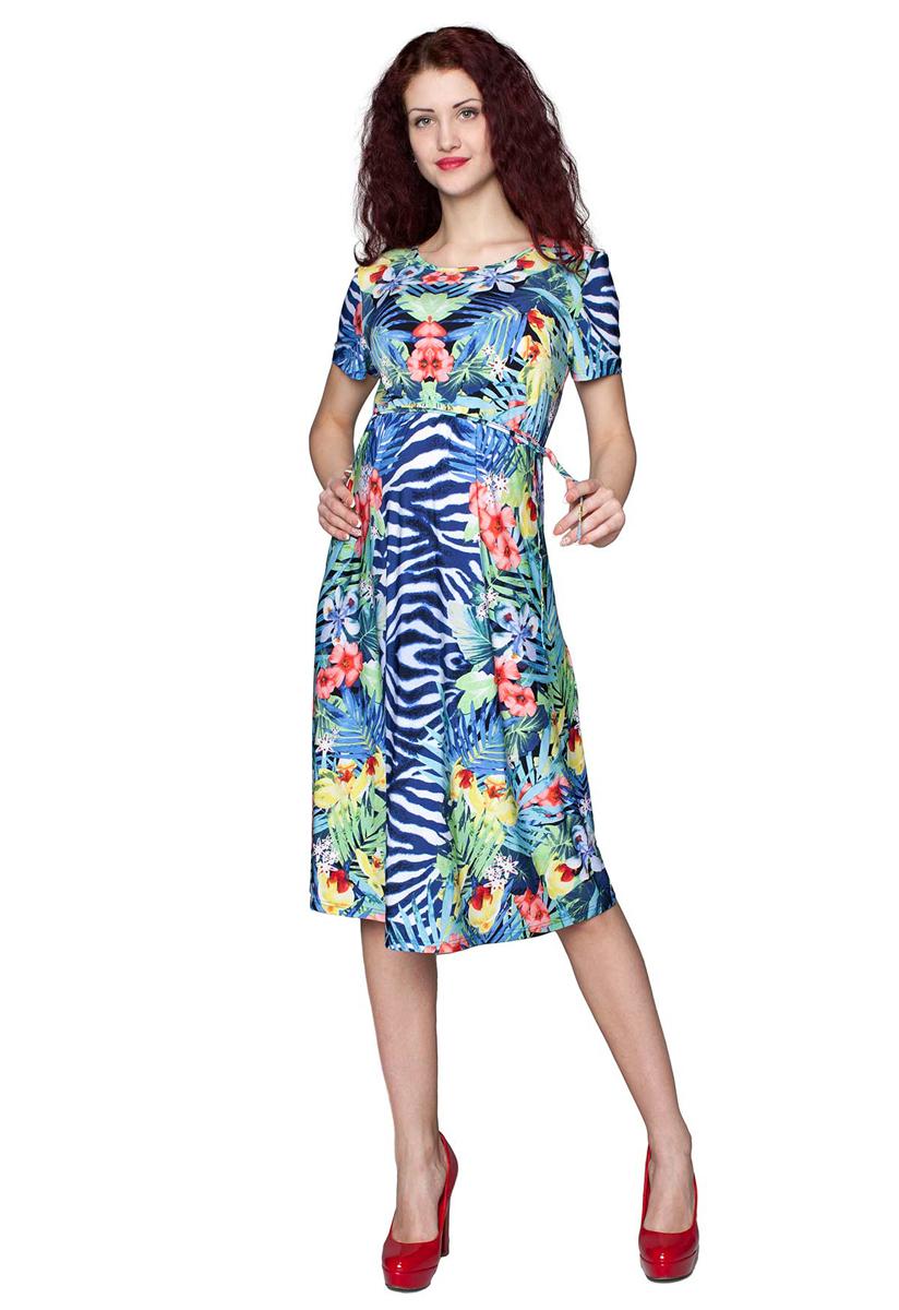 3-205525АПлатье женское для беременных расклешенного силуэта, с поясом. Прекрасный выбор на лето. Фэст - одежда по вашей фигуре.