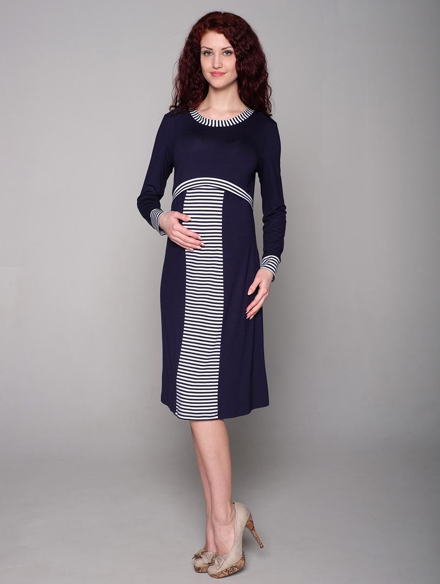 Платье188509ЕПлатье для беременных и кормящих мамочек выполнено в морском стиле. Отлетная кокетка позволит комфортно кормить малыша. Фэст — одежда по вашей фигуре.