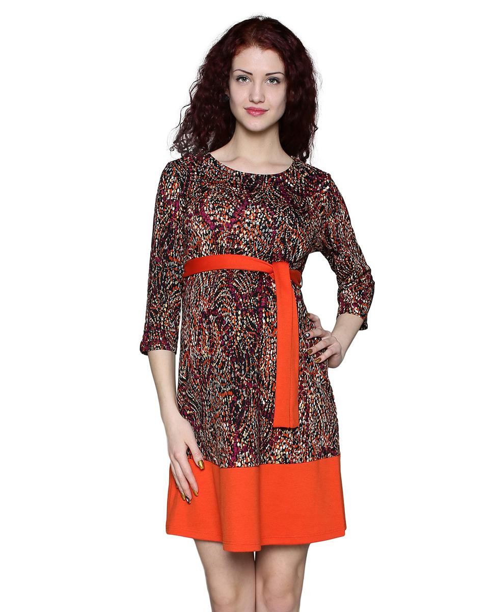 Платье190507ВПлатье с рукавом 3/4 и круглым вырезом горловины - отличный повседневный вариант. Пояс и подрез по низу выполнены из отделочного полотна. Фэст - одежда по вашей фигуре.