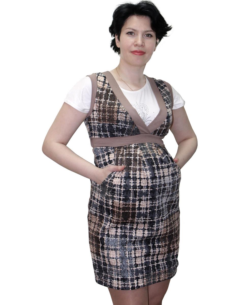 17507Комфортный сарафан для беременных — отличный офисный вариант. Удачно сочетается с различного вида джемперами и блузками. Фэст - одежда по вашей фигуре.