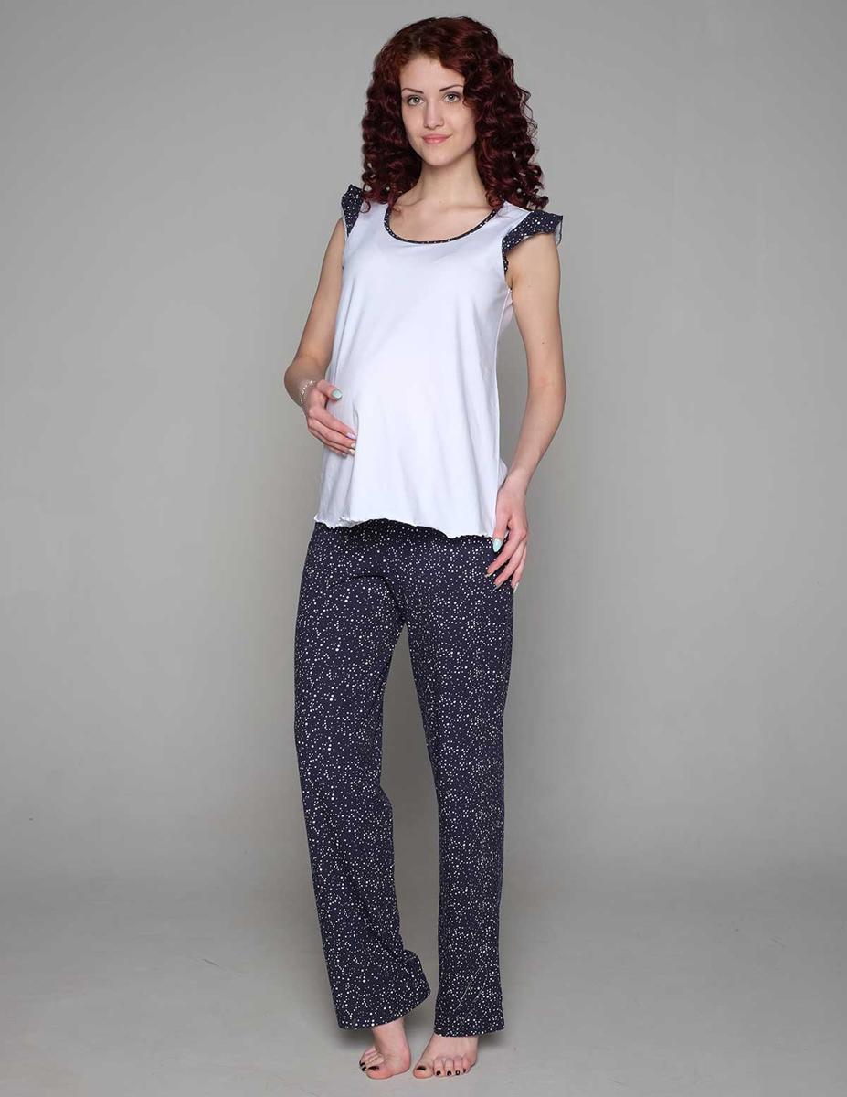 Домашний комплектП81505КСимпатичный и удобный комплект для беременных, состоящий из майки и брюк, выполнен из хлопка. Майка имеет интересный рукав-крылышко. Брюки выполнены с эластичным поясом под живот. Фэст-одежда по вашей фигуре.