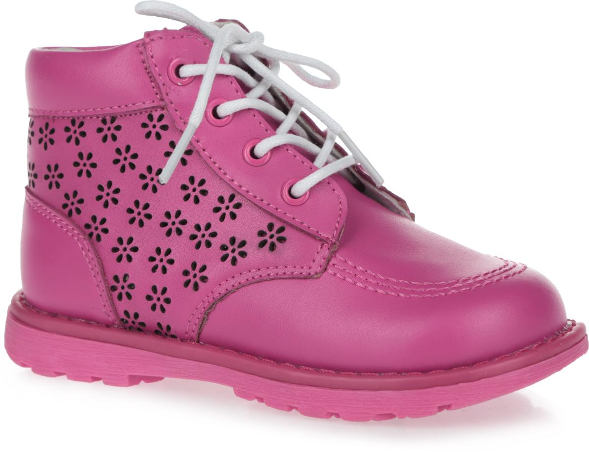 Ботинки для девочки. 100454100454Очаровательные ботинки от Mursu покорят вашу девочку с первого взгляда! Модель выполнена из натуральной кожи и оформлена декоративной перфорацией в виде цветов. Шнуровка прочно зафиксирует обувь на ноге. Ботинки застегиваются на застежку-молнию, расположенную на одной из боковых сторон. Подкладка из натуральной кожи позволяет ножкам дышать. Стелька EVA с поверхностью из натуральной кожи дополнена супинатором, который обеспечивает правильное положение ноги ребенка при ходьбе, предотвращает плоскостопие. Подошва с протектором гарантирует отличное сцепление с любыми поверхностями. Модные и практичные ботинки - незаменимая вещь в гардеробе каждого ребенка.