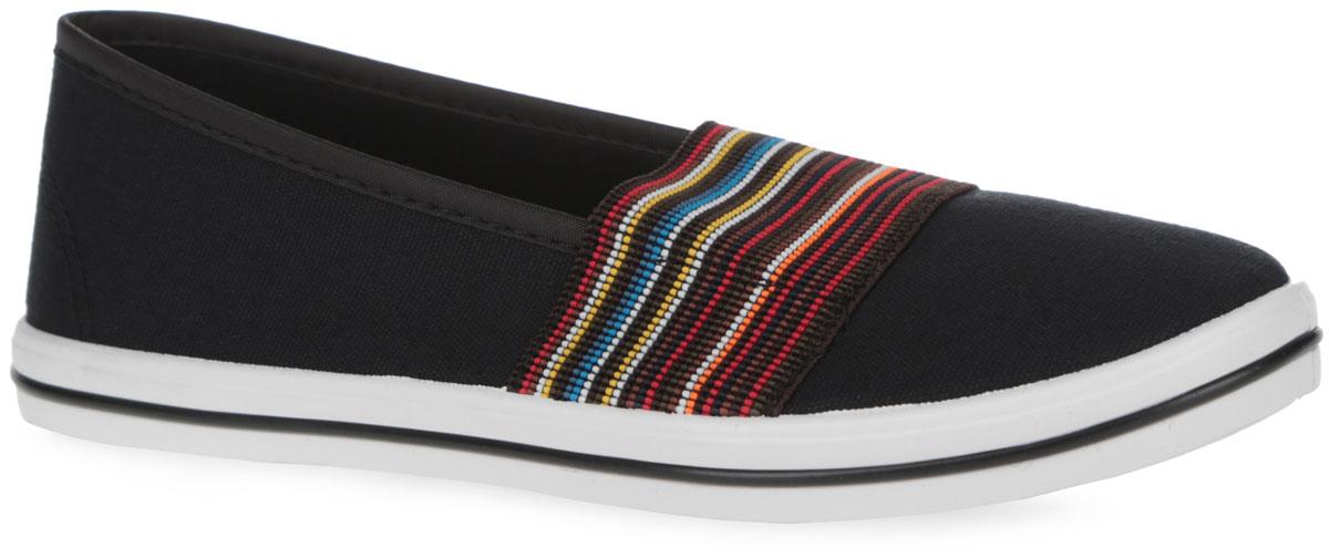 111-64Ультрамодные слипоны от Nobbaro очаруют вашу юную модницу с первого взгляда! Модель выполнена из плотного текстиля. Широкая резинка, оформленная цветными полосками, позволит легко надевать обувь. Внутренняя отделка и стелька из текстиля обеспечат комфорт при носке и исключат натирание. Подошва с рифлением гарантирует идеальное сцепление с любой поверхностью. Стильные слипоны отлично подойдут для простой прогулки и для дальней поездки.
