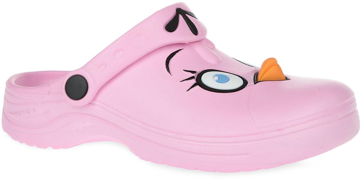 ABU450450Чудесные и очень легкие сабо от Mursu Angry Birds, выполненные полностью из ЭВА материала - это превосходный вид обуви для вашей малышки. Верх модели оформлен декоративными элементами в виде забавной мордочки персонажа из знаменитого мультфильма Angry Birds. Пяточный ремешок можно убирать вперед или носить на пятке. Стелька дополнена рельефной поверхностью. Нескользящая подошва обеспечивает безопасность ребенка при ходьбе. Такие сабо подойдут для повседневного использования в бассейне, дома или на отдыхе!