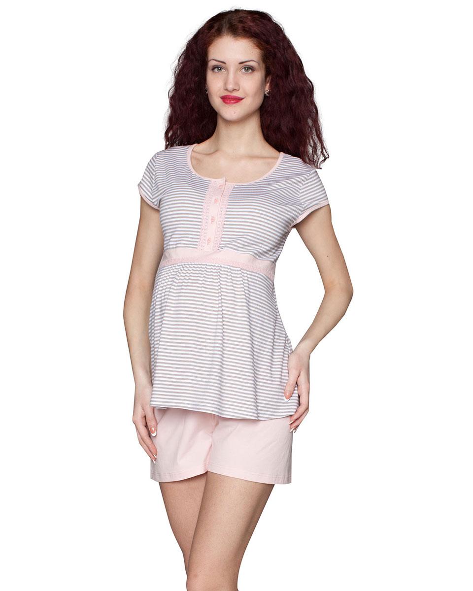 Домашний комплектП87505КСимпатичный и удобный комплект для беременных, состоящий из футболки и шортиков, выполнен из хлопка. Футболка имеет удобную застежку-планку на кнопках. Шорты выполнены с эластичным поясом под живот. Фэст - одежда по вашей фигуре.