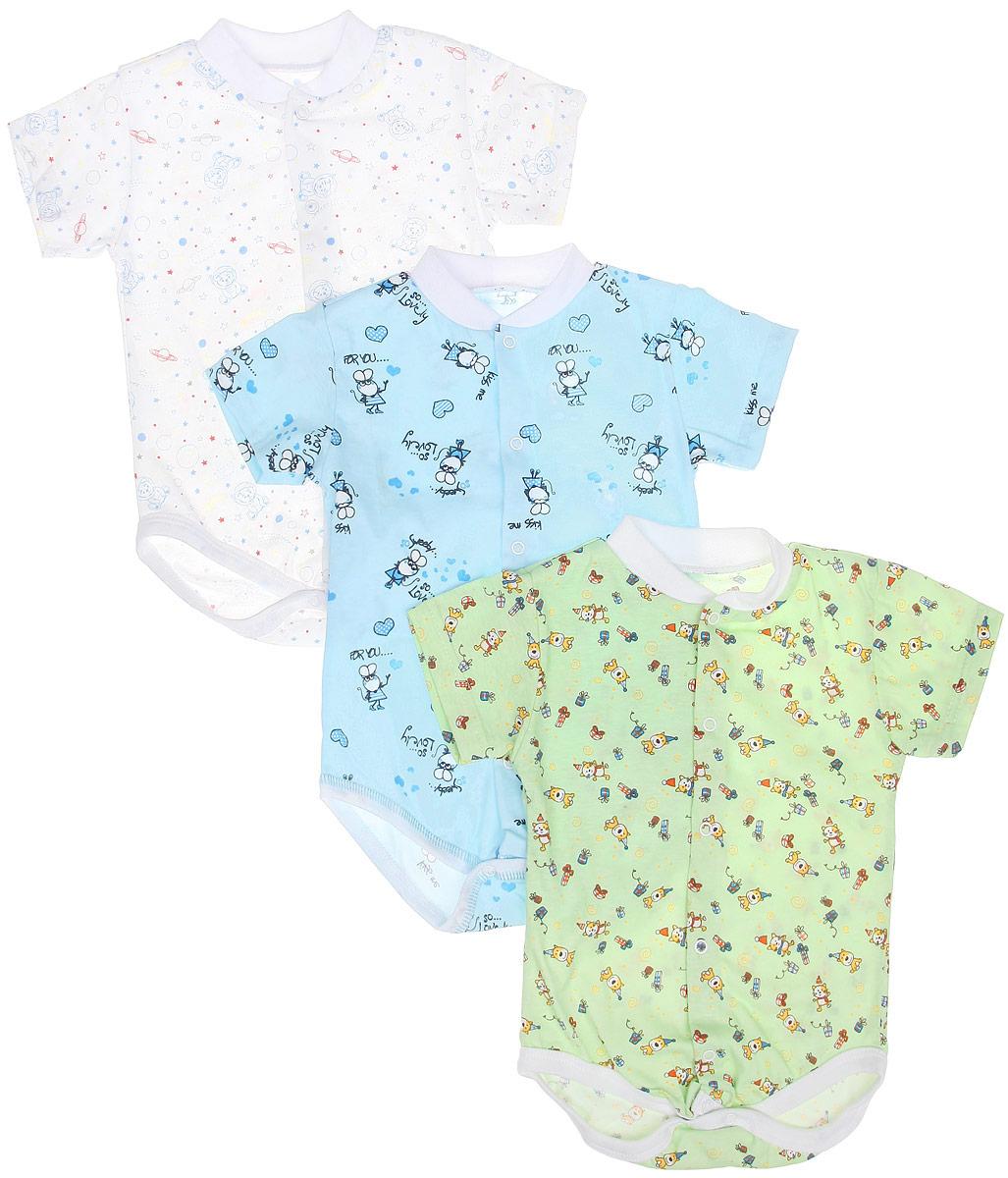 Боди-футболка для мальчика, 3 шт. 10-325м10-325мКомплект Фреш Стайл состоит из трех детских боди для мальчика. Выполненные из натурального хлопка, они мягкие и легкие, не раздражают нежную кожу ребенка и хорошо вентилируются. Боди с воротником-стойкой и короткими рукавами имеют удобные застежки-кнопки по всей длине и на ластовице, которые помогают легко переодеть младенца или сменить подгузник. Застежки-кнопки располагаются по центру модели. Воротник изготовлен из мягкой трикотажной резинки. Украшены боди яркими рисунками. Боди полностью соответствуют особенностям жизни малыша в ранний период, не стесняя и не ограничивая его в движениях! УВАЖАЕМЫЕ КЛИЕНТЫ! Обращаем ваше внимание на тот факт, что товар поставляется в цветовом ассортименте. Поставка осуществляется в зависимости от наличия на складе.