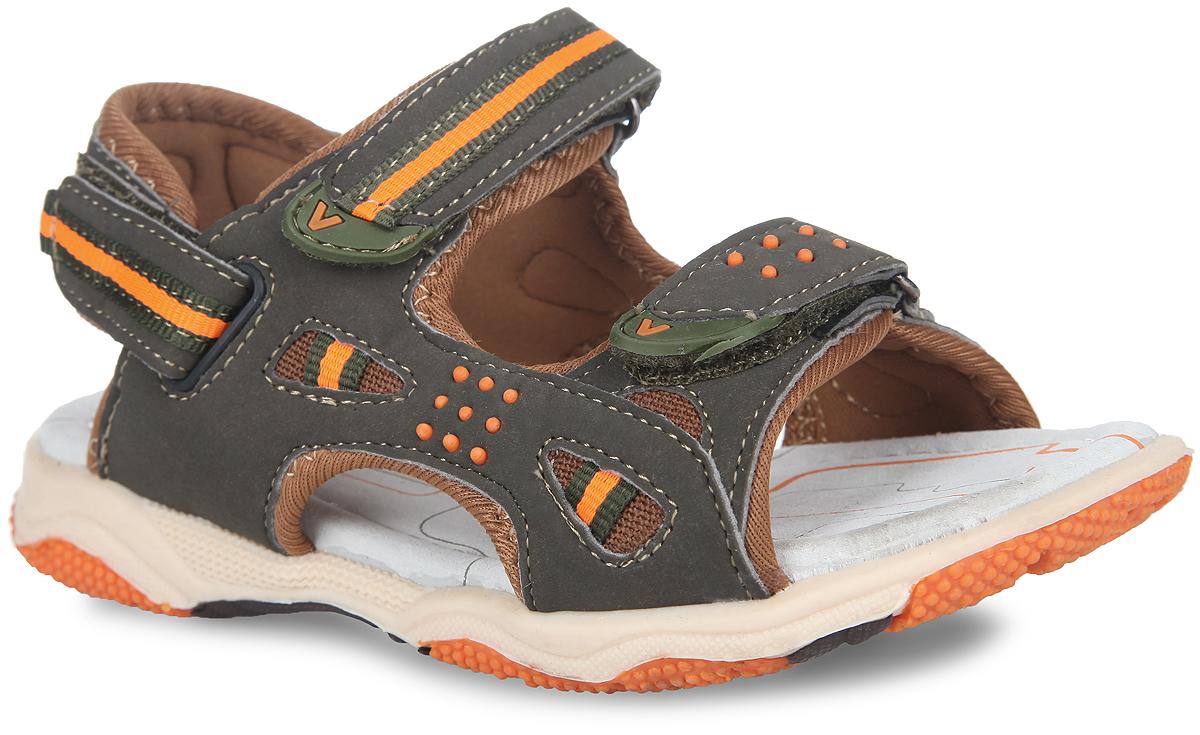 Сандалии для мальчика. 12-21112-211Невероятно модные сандалии от Аллигаша приведут в восторг вашего мальчика! Модель выполнена из искусственной кожи со вставками из текстиля. Ремешки на застежках-липучках надежно зафиксируют изделие на ноге и отрегулируют нужный объем. Подкладка и стелька из натуральной кожи позволяют ногам дышать. Стелька оснащена супинатором, который отвечает за правильное положение ноги ребенка при ходьбе, предотвращает плоскостопие. Протектор на подошве гарантирует отличное сцепление с любой поверхностью. Стильные сандалии займут достойное место в гардеробе вашего ребенка.