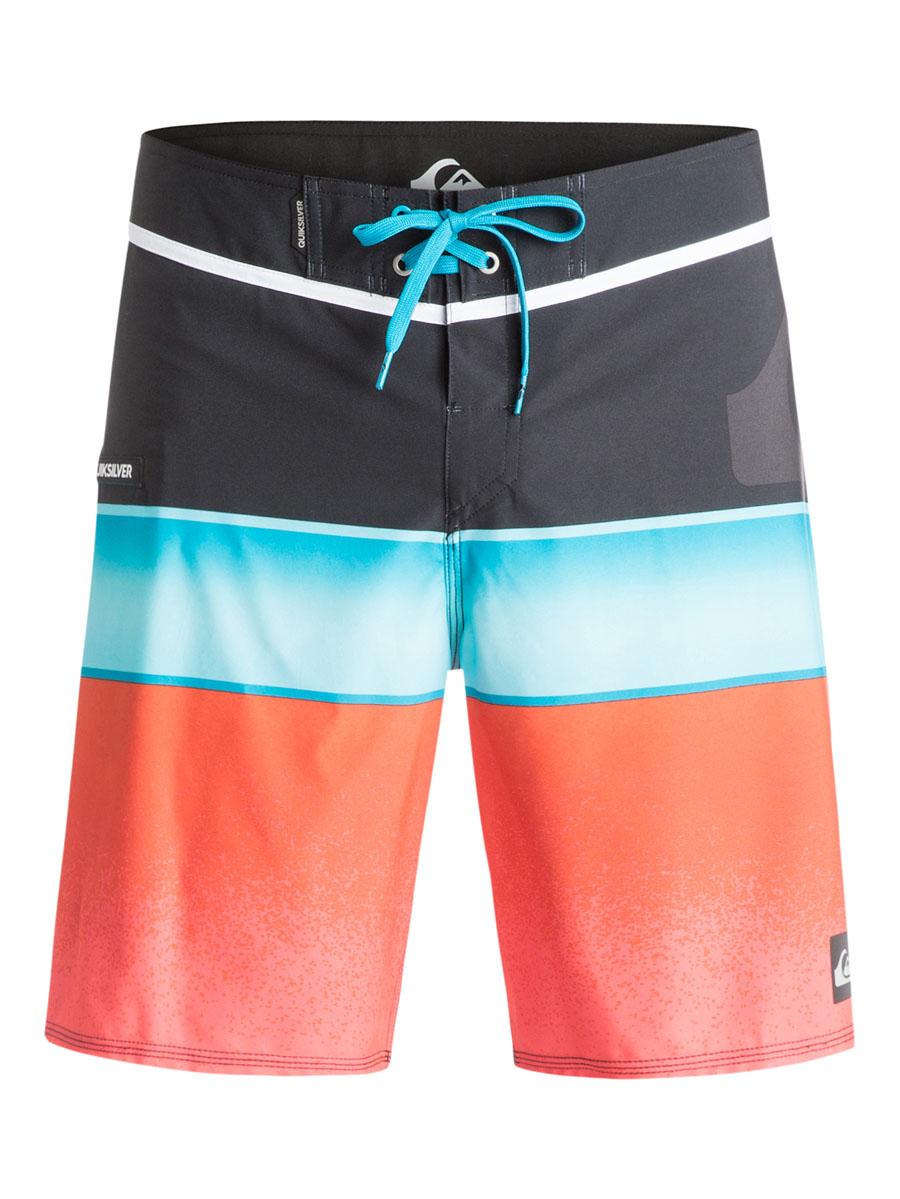 ШортыEQYBS03229-BMJ6Стильные мужские шорты Quiksilver выполнены из полиэстера с добавлением эластана. Шорты с поясом застегиваются на завязки-шнурки и липучки. Спереди сбоку изделие дополнено одним прорезным карманом на застежке- молнии. Модель декорирована принтом в виде полосок.
