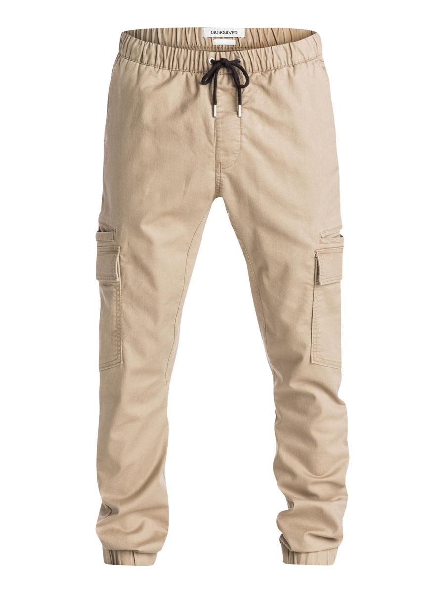 БрюкиEQYNP03069-GPB0Стильные мужские брюки-чинос чжоггеры Quiksilver со слегка заниженной ластовицей изготовлены из эластичного хлопка. Модель на талии имеет широкую эластичную резинку и дополнена затягивающимся шнурком и имитацией ширинки. Спереди брюки имеют два прорезных кармана, сзади два прорезных кармана, один из которых на застежке-пуговице. По бокам штанины дополнены двумя врезными карманами и двумя накладными карманами с клапанами на пуговицах. Низ брючин дополнен резинками.