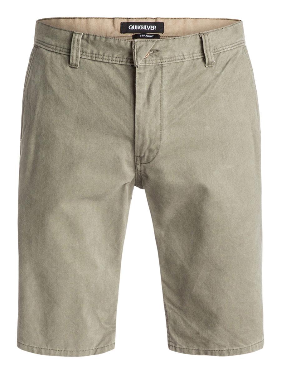 EQYWS03163-BKT0Стильные мужские шорты Quiksilver выполнены из натурального хлопка. Модель прямого покроя с ширинкой на застежке-молнии на талии застегивается на пуговицу, имеются шлевки для ремня. Спереди шорты дополнены двумя втачными карманами с косыми краями, сзади имеются два прорезных кармана с клапанами на пуговицах.