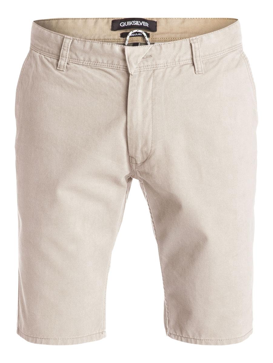 ШортыEQYWS03163-BKT0Стильные мужские шорты Quiksilver выполнены из натурального хлопка. Модель прямого покроя с ширинкой на застежке-молнии на талии застегивается на пуговицу, имеются шлевки для ремня. Спереди шорты дополнены двумя втачными карманами с косыми краями, сзади имеются два прорезных кармана с клапанами на пуговицах.