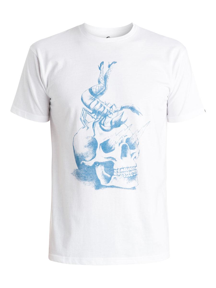ФутболкаEQYZT03638-WBB0Мужская футболка Quiksilver выполнена из натурального хлопка. Модель с круглым вырезом горловины и короткими рукавами оформлена оригинальным принтом с изображением черепа. Горловина дополнена трикотажной резинкой.