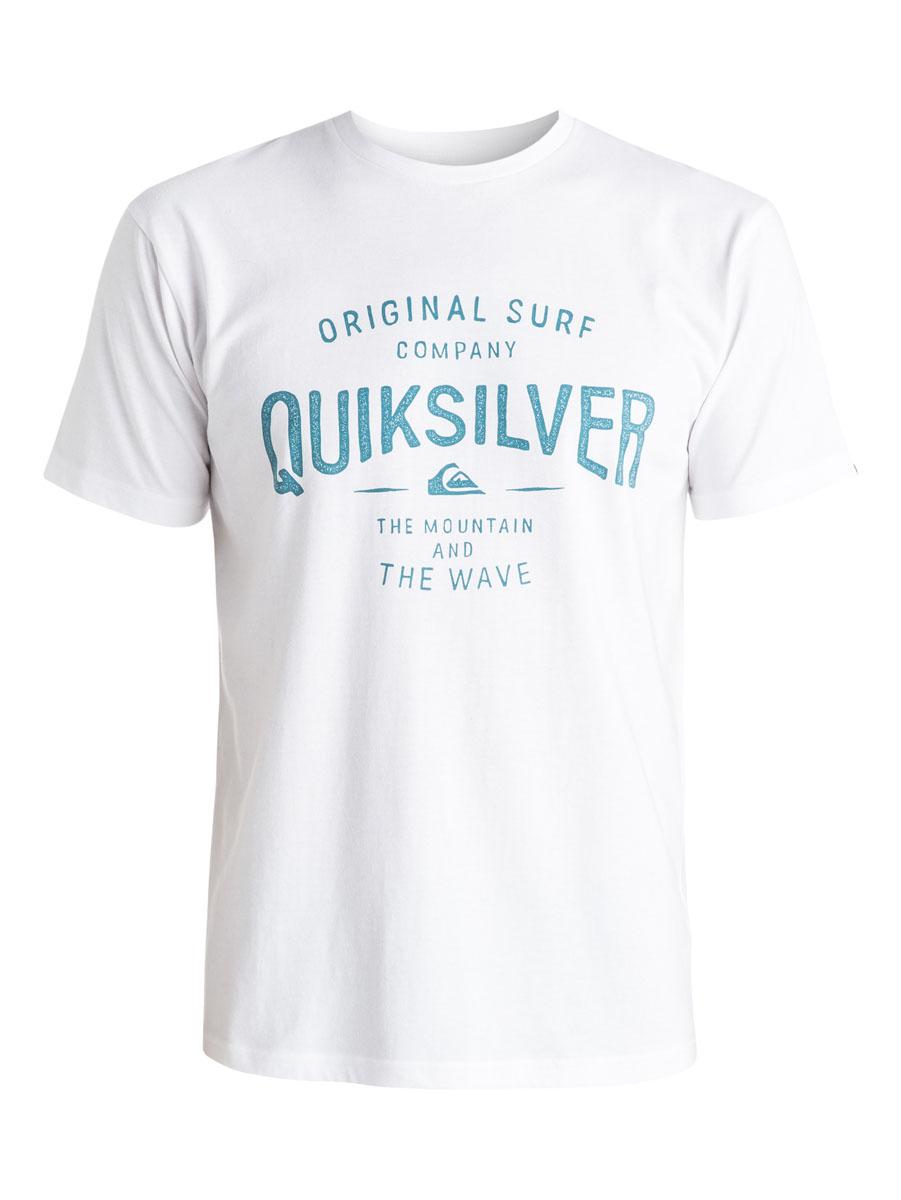 EQYZT03640-BYJ0Мужская футболка Quiksilver выполнена из натурального хлопка. Модель с круглым вырезом горловины и короткими рукавами оформлена оригинальным принтом с надписями. Горловина дополнена трикотажной резинкой.