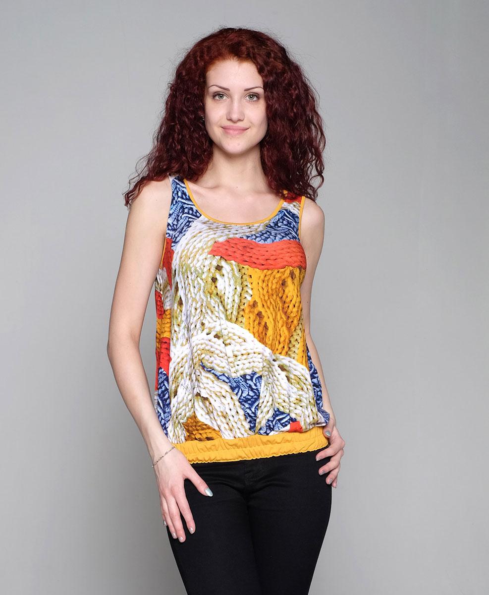 Майка24509Яркая летняя майка на широких бретелях для будущих мамочек выполнена из натурального трикотажного полотна. Фэст — одежда по вашей фигуре.