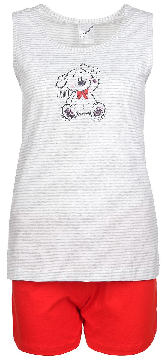 71401108_2695Комплект женской одежды Vienetta Secret Собачка состоит из майки и шорт. Комплект выполнен из натурального хлопка, мягкий, тактильно приятный. Изделия не сковывают движений и позволяют коже дышать, обеспечивая комфорт. Майка слегка приталенного силуэта с круглым вырезом горловины оформлена принтом в полоску. Изделие украшено изображением забавной собачки. Яркие шорты на талии дополнены мягкой эластичной резинкой с затягивающимся шнурком. Стильный комплект одежды станет отличным дополнением к вашему гардеробу, а также подарит вам удобство и комфорт.