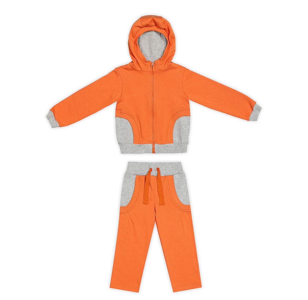 Спортивный костюм29-201Спортивный костюм Ёмаё, состоящий из толстовки и брюк, идеально подойдет вашему ребенку и станет отличным дополнением к его гардеробу. Изготовленный из натурального хлопка, он очень мягкий и приятный на ощупь, не сковывает движения и позволяет коже дышать, обеспечивая комфорт. Лицевая сторона изделия гладкая, изнаночная - с небольшими петельками. Толстовка с капюшоном и длинными рукавами застегивается на пластиковую молнию с защитой подбородка. Капюшон с подкладкой контрастного цвета по краю дополнен трикотажной резинкой. Спереди предусмотрены два прорезных кармашка. Понизу модель дополнена широкой трикотажной резинкой, а на рукавах имеются манжеты, не стягивающие запястья. Сзади толстовка оформлена крупной принтовой надписью с названием бренда. Брюки прямого кроя имеют на поясе широкую эластичную резинку, благодаря чему они не сдавливают животик ребенка и не сползают. По бокам изделие дополнено двумя прорезными карманами. В таком костюме ваш...