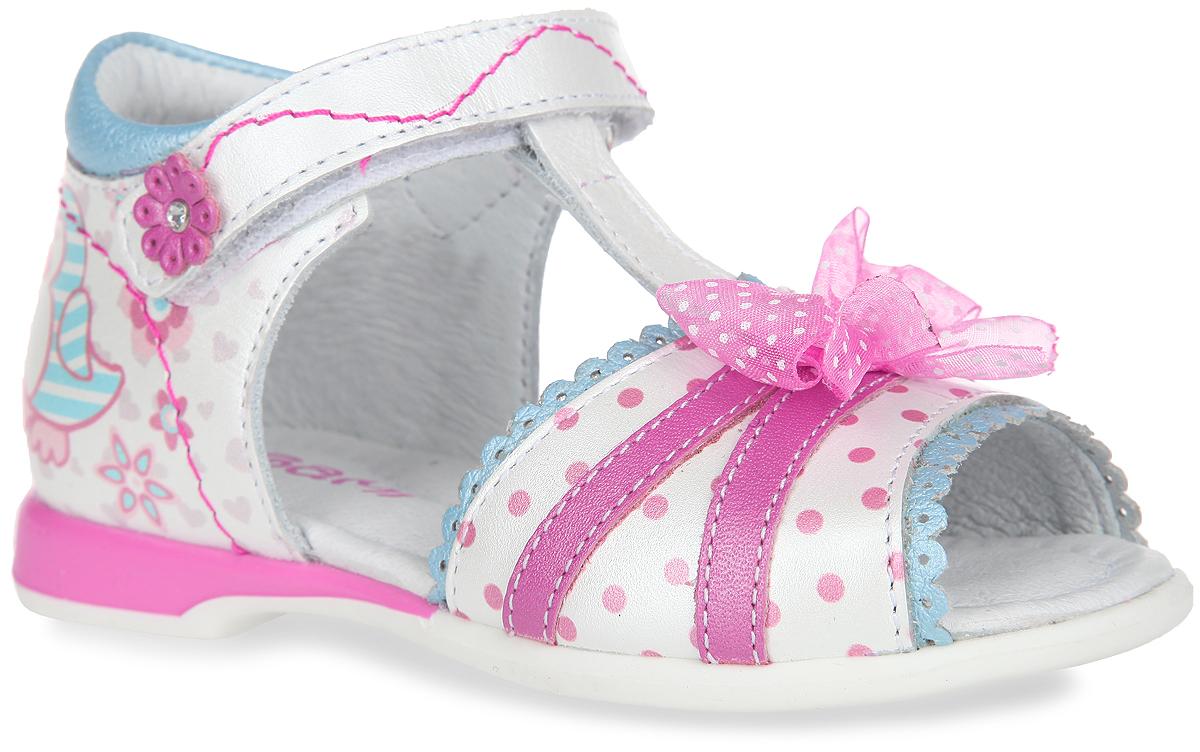 Сандалии для девочки. 7-8045616017-804561601Потрясающие сандалии от Elegami придутся по душе вашей маленькой принцессе и идеально подойдут для повседневной носки в летнюю погоду. Модель выполнена из натуральной кожи и оформлена спереди узором в горох, текстильным бантиком, волнообразной окантовкой с перфорацией. Задняя поверхность изделия декорирована принтом с изображением очаровательных птичек. Ремешок на застежке-липучке, украшенный аппликацией в виде цветочка со стразом, надежно зафиксирует модель на стопе. Подкладка и стелька из натуральной кожи позволяют ножкам дышать. Супинатор на стельке обеспечивает правильное положение ноги ребенка при ходьбе, предотвращает плоскостопие. Подошва с рифлением в виде цветочного рисунка гарантирует отличное сцепление с любой поверхностью. Стильные и практичные сандалии - незаменимая вещь в гардеробе каждой девочки!