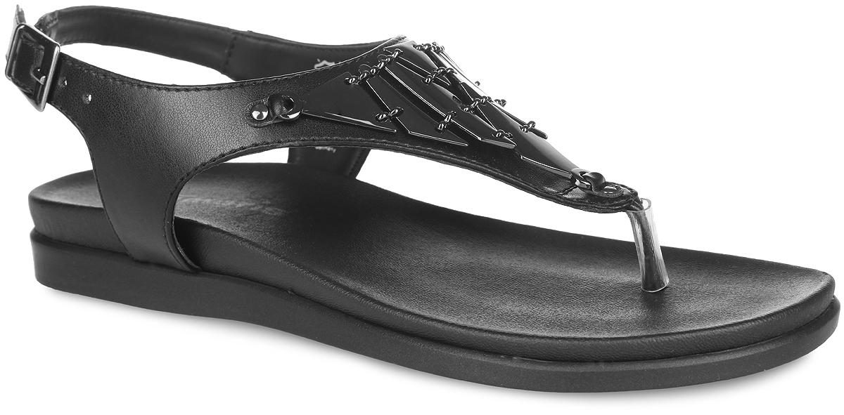 Сандалии женские. 1-1-28161-26-0011-1-28161-26-001Эффектные сандалии от Tamaris не оставят равнодушной настоящую модницу! Модель выполнена из искусственной кожи и оформлена на подъеме металлическими элементами оригинальной формы, соединенными между собой звеньями. Ремешок на щиколотке с металлической пряжкой обеспечивает надежную фиксацию изделия на ноге. Длина ремешка регулируется с помощью болта. Подошва с рифлением в виде цветочного рисунка обеспечивает отличное сцепление с любыми поверхностями. Стильные сандалии внесут изюминку в ваш модный образ.