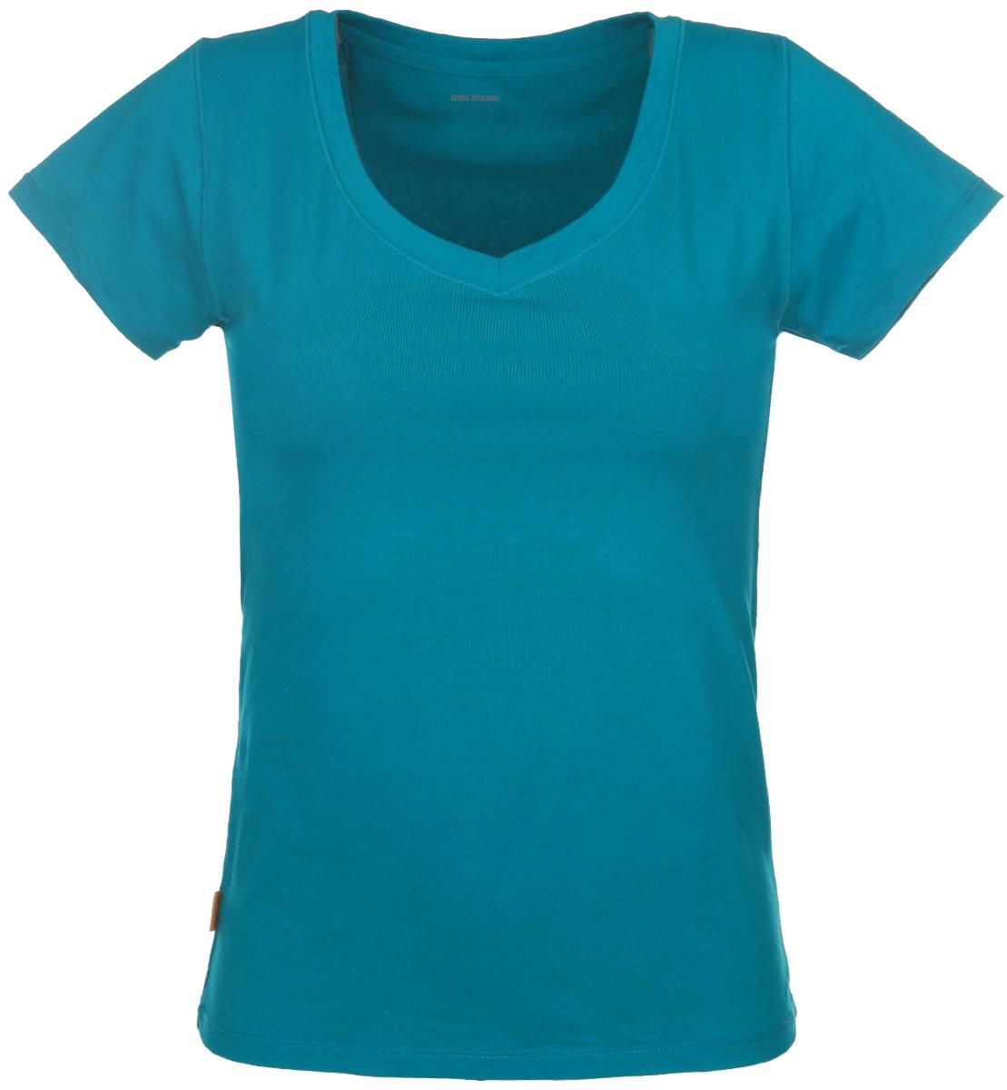 7047Женская футболка Alla Buone Liscio, выполненная из эластичного хлопка, идеально подойдет для повседневной носки. Материал изделия мягкий, тактильно приятный, не сковывает движения и позволяет коже дышать. Футболка с V-образным вырезом горловины и короткими рукавами имеет слегка приталенный силуэт. Вырез горловины оформлен мягкой окантовочной лентой. Изделие дополнено фирменным логотипом, вшитым в боковой шов. Такая модель будет дарить вам комфорт в течение всего дня и станет отличным дополнением к вашему гардеробу.