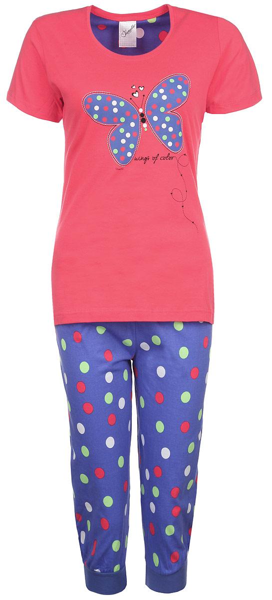 Комплект женский Бабочка: футболка, капри. 719810463719810463Комплект женской одежды Vienetta Secret Бабочка включает в себя футболку и капри. Комплект выполнен из натурального хлопка, мягкий, тактильно приятный. Изделия не сковывают движений и позволяют коже дышать, обеспечивая комфорт. Футболка с круглым вырезом горловины и короткими рукавами имеет приталенный силуэт. На груди изделие украшено термоаппликацией в виде бабочки. Капри на талии имеют мягкую эластичную резинку с затягивающимся шнурком. Низ брючин дополнен эластичными манжетами. Оформлена модель принтом в горох. Стильный комплект одежды станет отличным дополнением к вашему домашнему гардеробу, а также подарит вам удобство и комфорт.