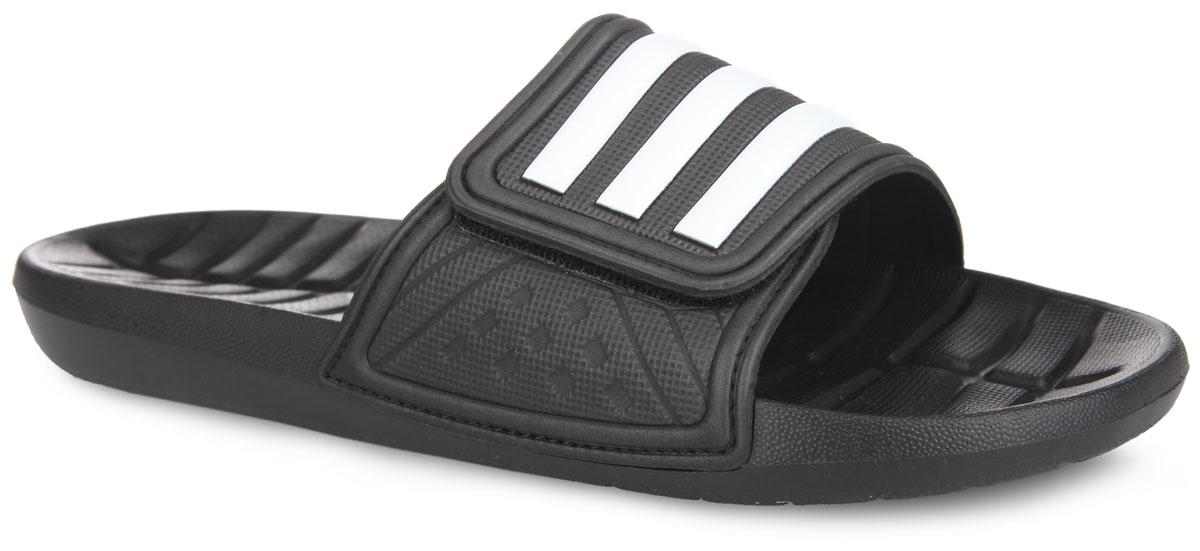 AQ5600Легкие и очень удобные мужские шлепанцы от adidas придутся вам по душе. Верх модели выполнен из EVA материала. EVA обладает хорошими амортизирующими свойствами и водонепроницаемостью. Регулируемый ремешок на застежке- липучке оформлен фирменными полосками. Внутренняя часть, изготовленная из текстиля, предотвратит натирание. Внутренняя поверхность подошвы оформлена рельефом, который предотвращает выскальзывание ноги. Рельефная поверхность подошвы обеспечивает отличное сцепление с любой поверхностью. Дренажные отверстия в подошве предназначены для выхода воды. Такие шлепанцы - отличное решение для каждодневного использования!